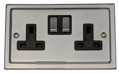 G&H TC310 Trimline Plate Polished Chrome 2 Gang Double 13A Switched Plug Socket